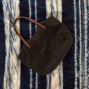 MUJI Grey Wool Tote Bag with Leather Straps
